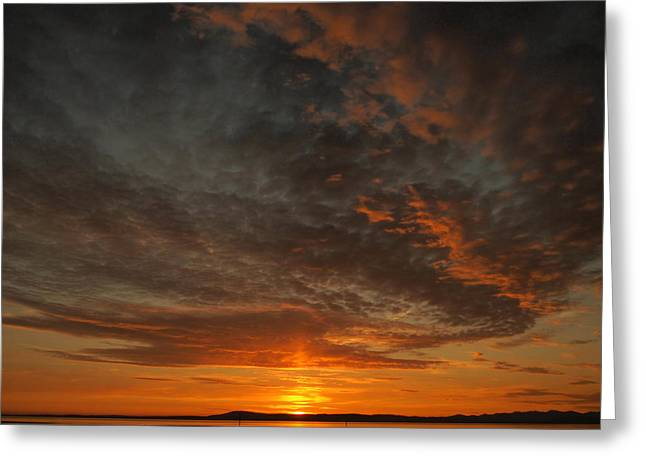 Morecambe Sunset Greeting Card by Christopher Mercer