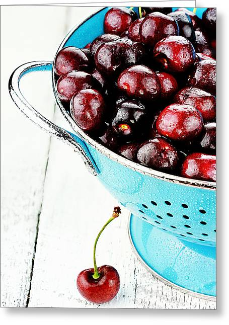 Colander Greeting Cards - Morello Cherries Greeting Card by Stephanie Frey