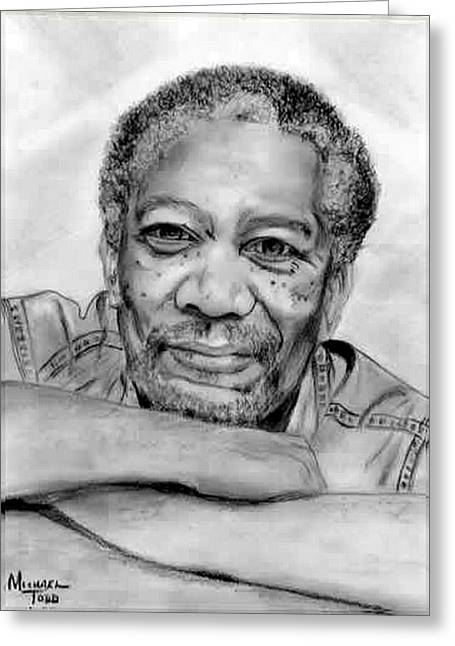 African-american Drawings Greeting Cards - Morgan Freeman Greeting Card by Mike Todd