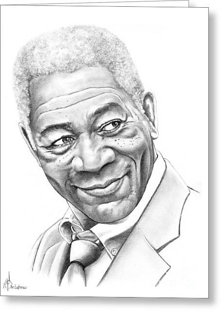 Morgan Freeman Greeting Card by Murphy Elliott
