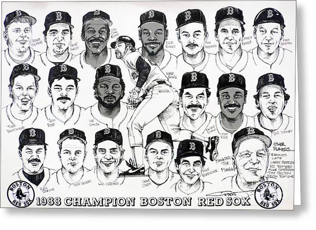 Red Sox Drawings Greeting Cards - Morgan Magic and the East Championship newspaper poster Greeting Card by Dave Olsen