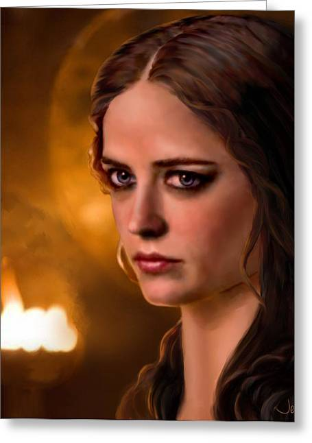 Camelot Greeting Cards - Morgan Pendragon Eva Green Greeting Card by Jennifer Hickey