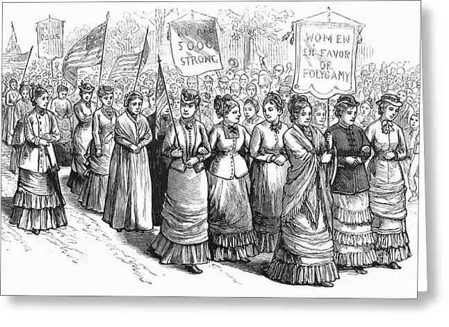 Protesters Greeting Cards - Mormon Demonstration, 1879 Greeting Card by Granger