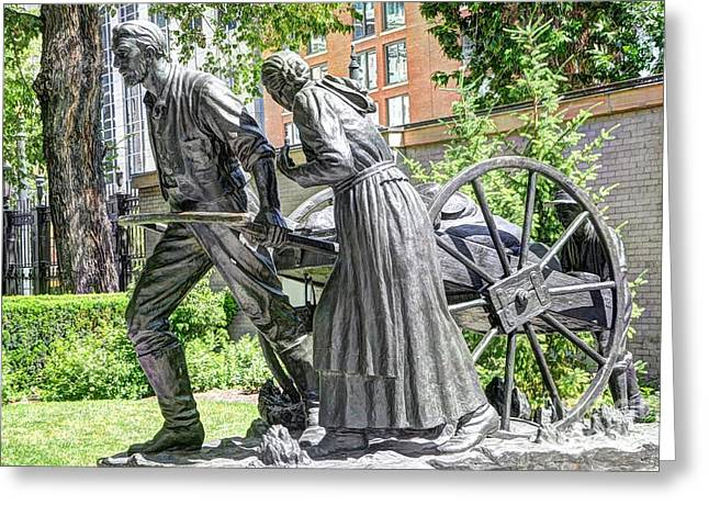 Salt Lake City Temple Greeting Cards - Mormon History - Hand Cart Statue Greeting Card by Gary Whitton