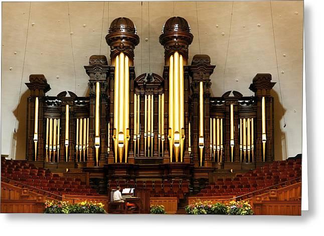 Mormon Tabernacle Greeting Cards - Mormon Tabernacle Pipe Organ Greeting Card by Marilyn Hunt