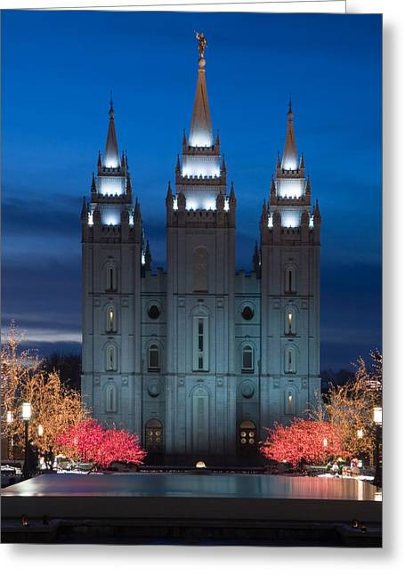 Christmas Eve Greeting Cards - Mormon Temple Christmas Lights Greeting Card by Utah Images