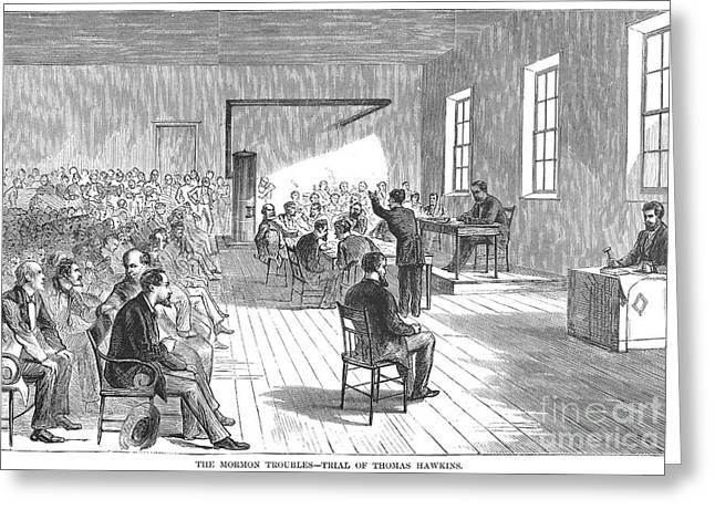 Defendant Greeting Cards - Mormon Trial, 1871 Greeting Card by Granger