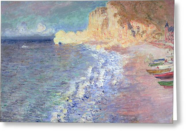 Fishing Boat Greeting Cards - Morning at Etretat Greeting Card by Claude Monet