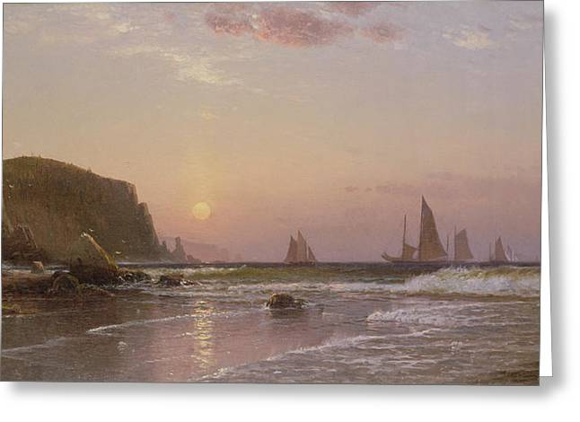 Schooner Paintings Greeting Cards - Morning at Grand Manan Greeting Card by Alfred Thompson Bricher