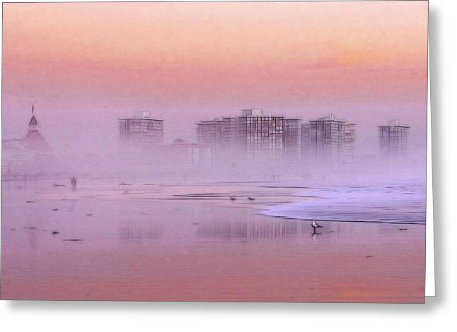 Haze Greeting Cards - Morning at the Beach Greeting Card by Stefan Kuhn