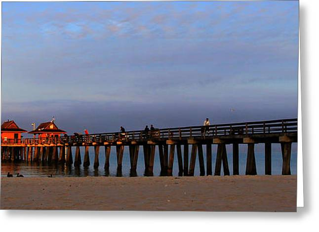 Paradise Pier Attraction Greeting Cards - Morning at the Naples Pier Greeting Card by Sean Allen