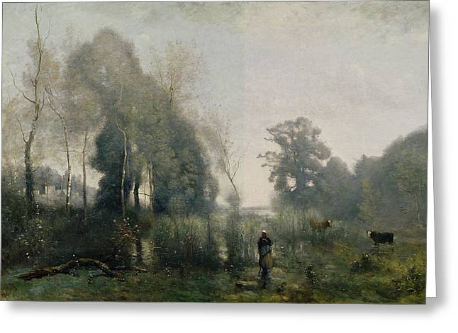Peasant Greeting Cards - Morning at Ville dAvray Greeting Card by Jean Baptiste Camille Corot
