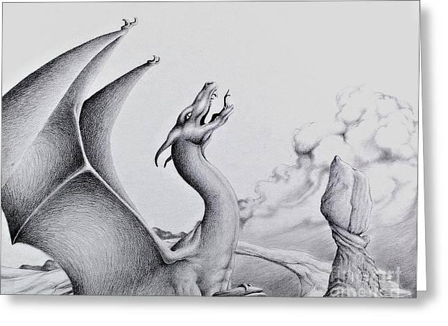 Pencil Drawing Digital Art Greeting Cards - Morning Bellow Greeting Card by Robert Ball