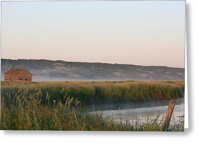 Old Fence Posts Digital Greeting Cards - Morning by the River Greeting Card by Andrea Lawrence