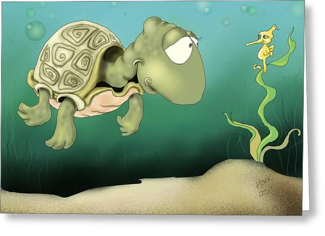 Sea Life Digital Art Greeting Cards - Morning Chat Greeting Card by Hank Nunes