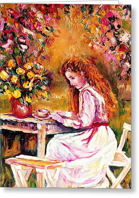 Vase With Figures Greeting Cards - Morning Coffee In The Garden Westmount Quebec Summer City Scene Montreal Art Greeting Card by Carole Spandau