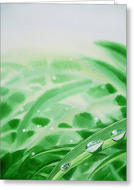 Morning Dew Greeting Cards - Morning Dew Drops Greeting Card by Irina Sztukowski