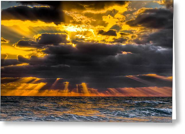 Hobe Sound Greeting Cards - Morning Drama Greeting Card by Debra and Dave Vanderlaan