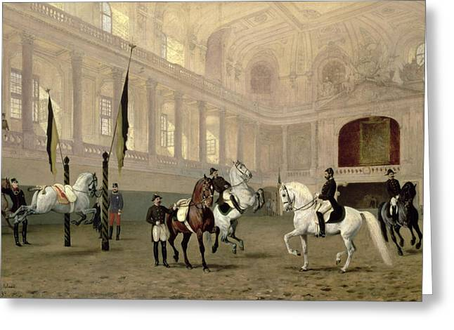 Interior Paintings Greeting Cards - Morning Exercise in the Hofreitschule Greeting Card by Julius von Blaas