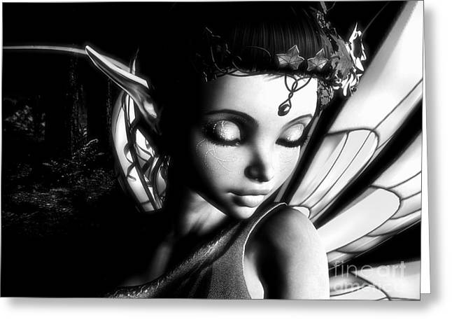 Morning Fairy Bw Greeting Card by Alexander Butler