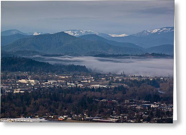 Drifting Snow Greeting Cards - Morning Fog over Grants Pass Greeting Card by Mick Anderson