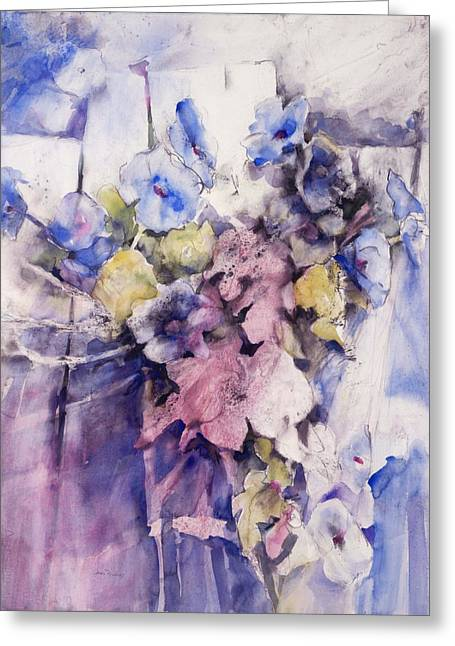 Discovery Mixed Media Greeting Cards - Morning Glories Greeting Card by Joan  Jones
