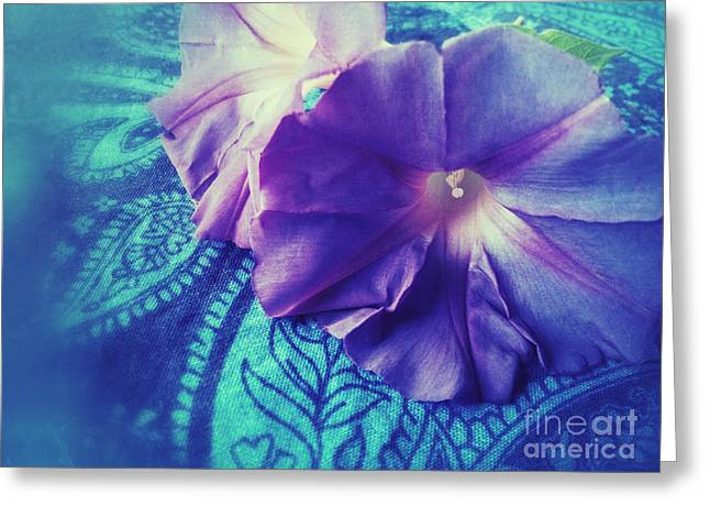 Paisley Blue Fabric Greeting Cards - Morning Glories on Paisley Greeting Card by Ruby Hummersmith