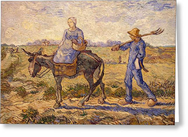Farming Greeting Cards - Morning going out to work Greeting Card by Vincent Van Gogh