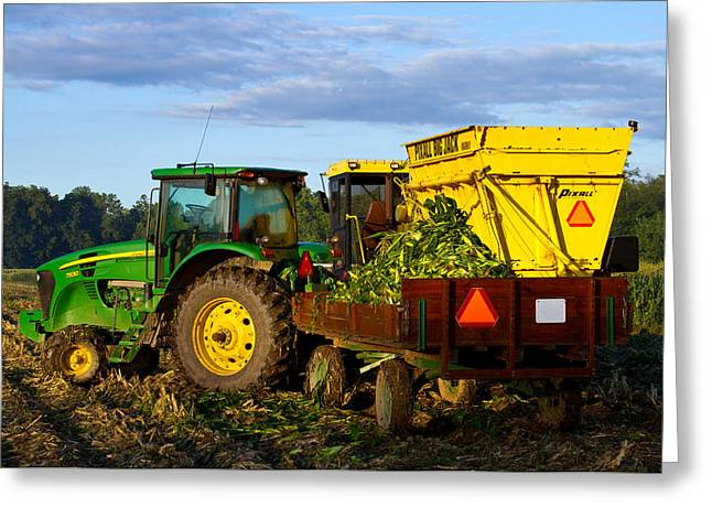 Corn Picker Greeting Cards - Morning Harvest Greeting Card by Tim  Fitzwater