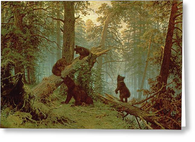 Wild Animals Paintings Greeting Cards - Morning in a Pine Forest Greeting Card by Ivan Ivanovich Shishkin