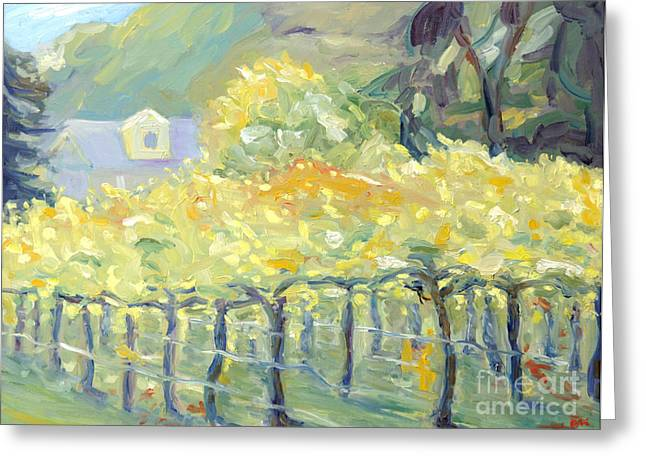 Napa Valley And Vineyards Paintings Greeting Cards - Morning in Napa Valley Greeting Card by Barbara Anna Knauf