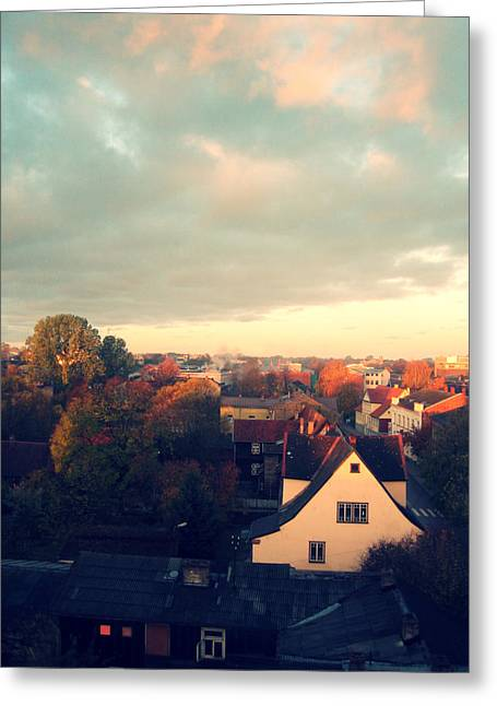 Morning In The Town Greeting Card by German Savchishen