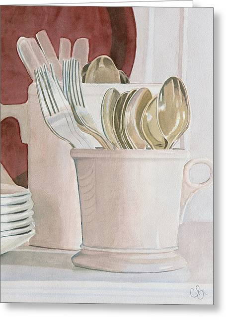 Still Life Photographs Drawings Greeting Cards - Morning Kitchen Greeting Card by Chris Blair