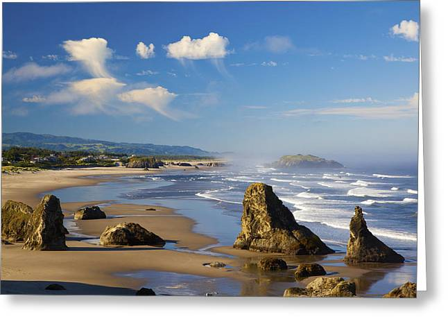 Best Sellers -  - State Parks In Oregon Greeting Cards - Morning Light Adds Beauty To Rock Greeting Card by Craig Tuttle