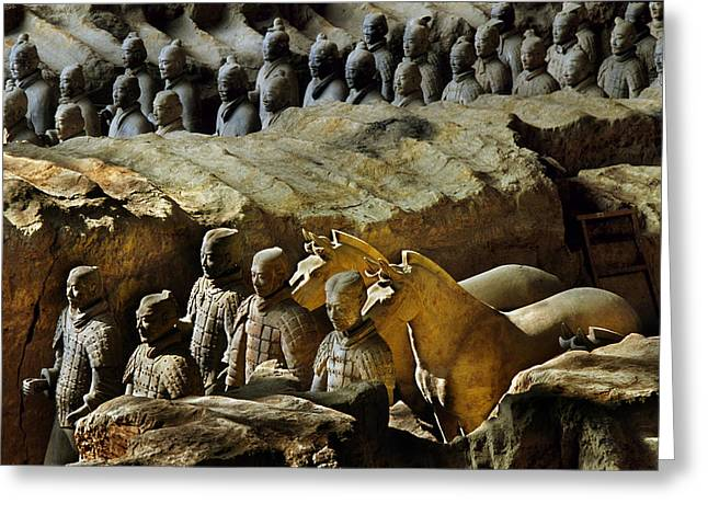 Terra Cotta Sculpture Greeting Cards - Morning Light Falls On Soldiers Greeting Card by O. Louis Mazzatenta