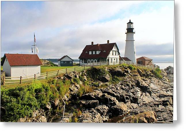 Maine Lighthouses Greeting Cards - Morning Light Greeting Card by Timothy Donahue