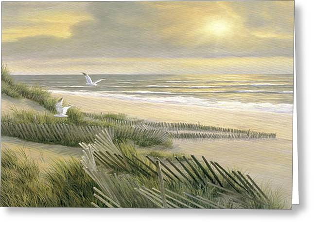 Panoramic Ocean Paintings Greeting Cards - Morning Meditation - Panoramic Greeting Card by Diane Romanello