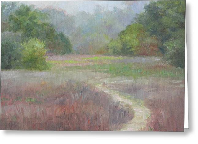 Autumn Landscape Paintings Greeting Cards - Morning Mist Greeting Card by Anna Bain