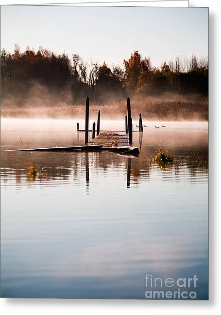Fall River Scenes Greeting Cards - Morning mist Greeting Card by Kati Molin