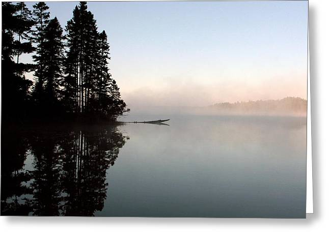 Woodbury Greeting Cards - Morning Mist Greeting Card by Linda Helmick