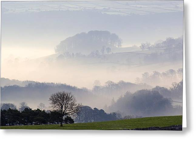 Inversion Greeting Cards - Morning Mist Over Farmland Greeting Card by Duncan Shaw