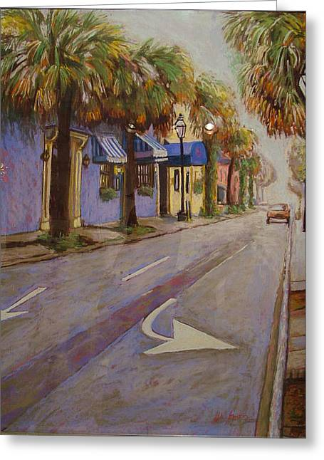 Charleston Pastels Greeting Cards - Morning on King Street Charleston SC Greeting Card by Hillary Gross
