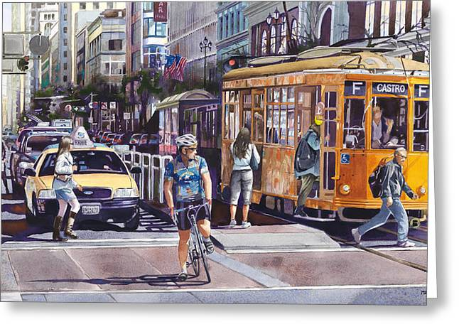 Streetcar Greeting Cards - Morning on Market Street Greeting Card by Mike Hill