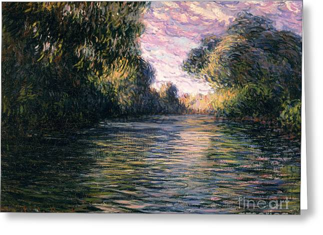 Reflections In River Greeting Cards - Morning on the Seine Greeting Card by Claude Monet