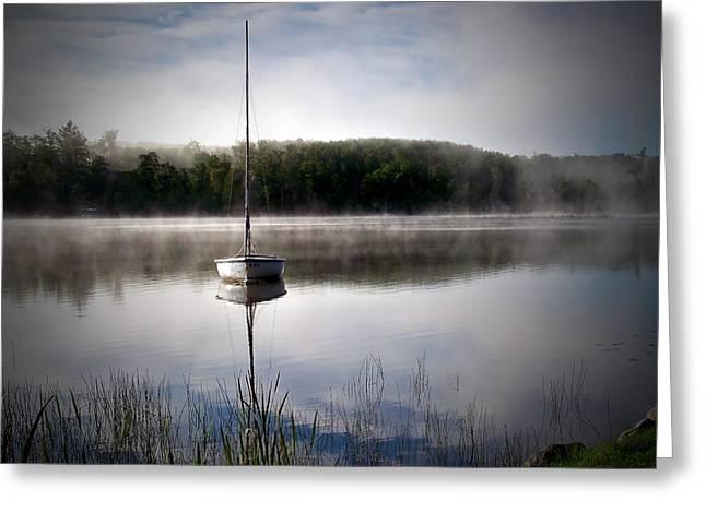 Northwoods Greeting Cards - Morning on White Sand Lake Greeting Card by Lauren Radke