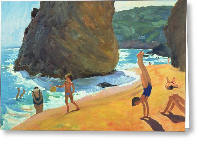 Sunbathing Paintings Greeting Cards - Morning Platja dos Rosais Costa Brava Greeting Card by Andrew Macara