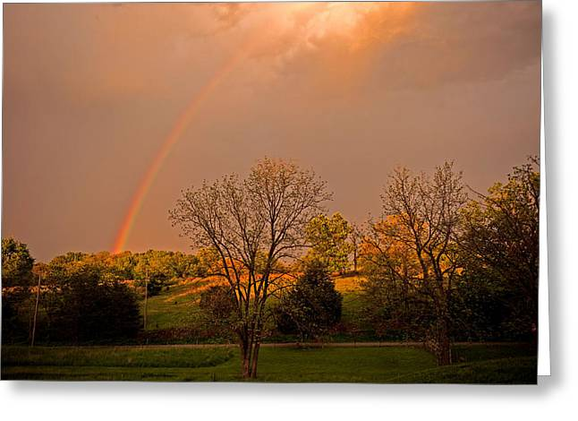 Double Rainbow Greeting Cards - Morning Rainbow Greeting Card by Donna Caplinger