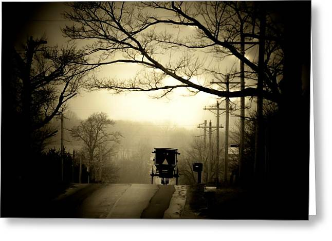Amish Greeting Cards - Morning Ride Greeting Card by Michael L Kimble