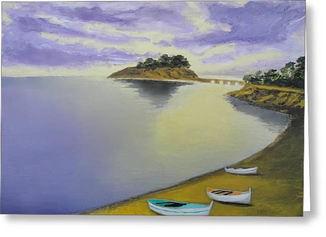 Morning Sea Greeting Card by Larry Cirigliano