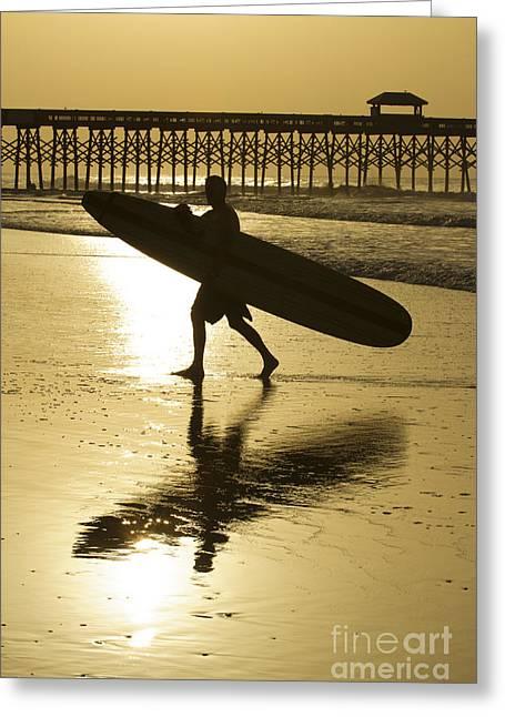 Longboard Greeting Cards - Morning Session Longboard Surfing Folly Beach SC  Greeting Card by Dustin K Ryan